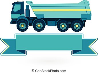 Blue big truck builds roads on white. Construction and...