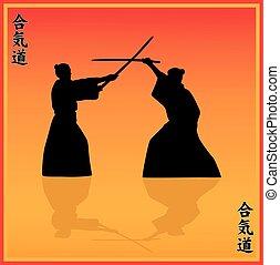 EPS,  Illustration, hommes, deux, exposition,  aikido