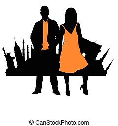 couple silhouette front of famous monuments illustration