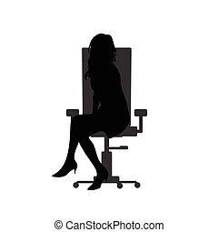 girl silhouete on chair in black color illustration - girl...