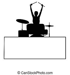 girl silhouete playing drums with card illustration