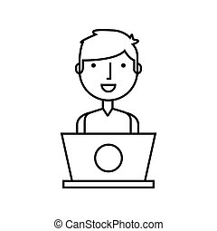 business person with laptop vector illustration design