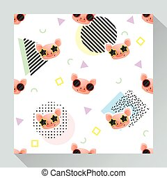 Animal seamless pattern collection with piggy 2