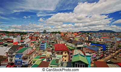 Upper View of Vietnamese Resort City Roofs Streets - upper...