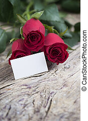 Red rose with blank space for lovely message fopr Valentine...
