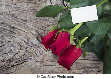red roses with blank space for Valentines message -...