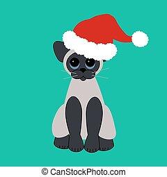 Cat in Santa Claus hat