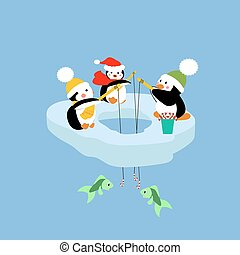 Penguins fishing on an ice floe. Vector illustration