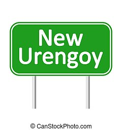 New Urengoy road sign. - New Urengoy road sign isolated on...