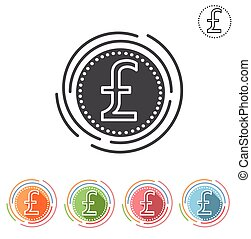 Pound sterling sign Insulated flat icon on a white...
