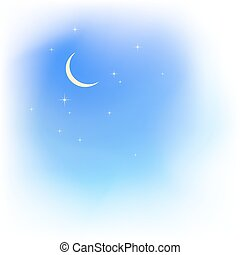 Blue sky in clouds with moon and stars. Fair weather.