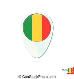 Mali flag location map pin icon on white background.