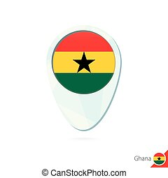 Ghana flag location map pin icon on white background.