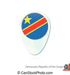 Democratic Republic of the Congo flag location map pin icon on white background.