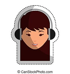 young woman with headset character
