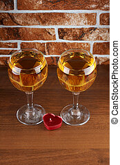 Two glass on table - Glass and bottle wine on wooden table