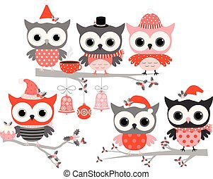 Cute winter owl birds in red and grey colors