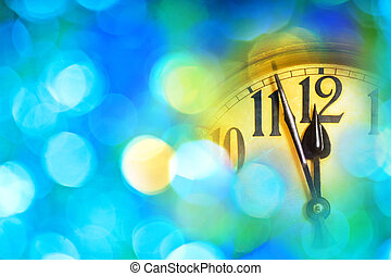 Detail of new year clock with blue background