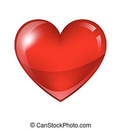 Red shiny realistic heart. Happy Valentine day symbol.