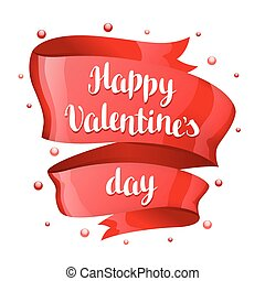 Happy Valentine day greeting card with Red shiny ribbon.