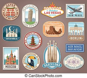 Vector international tourism landmark labels - Collection of...