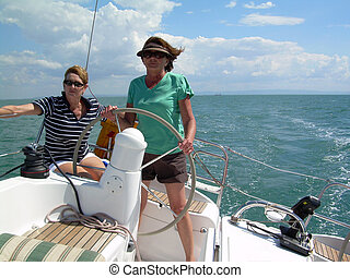 Mature women sailing - Sailing with mature women at the helm...