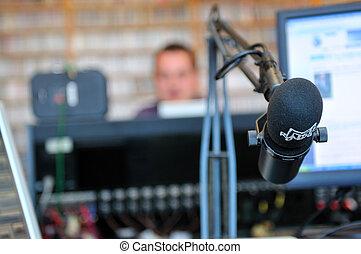 radio station microphone - radio station indoor and...