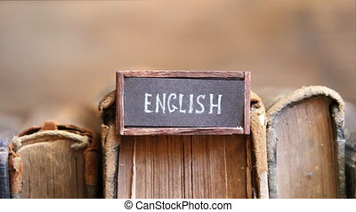English concept tag and retro books - English tag and...