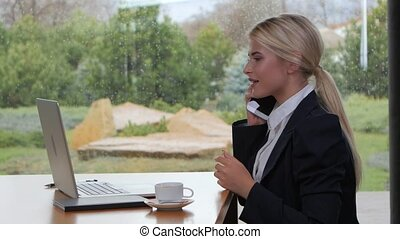 Smiling woman talking on the phone and working on laptop -...