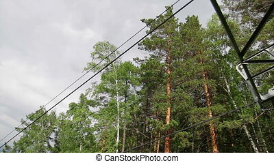 Cableway Chairlift in the summer, Russia - Chairlift in the...