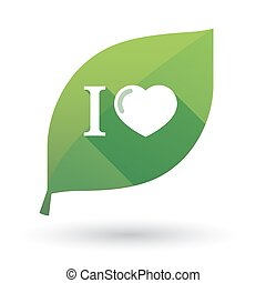 "Isolated green leaf with  an "" I like"" glyph"