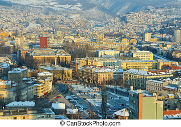 sarajevo city landscape at winter season
