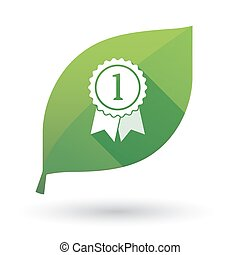 Isolated green leaf with  a ribbon award