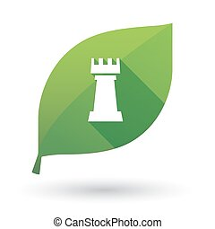 Isolated green leaf with a rook chess figure - Illustration...