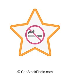 Isolated star with a no smoking sign - Illustration of an...