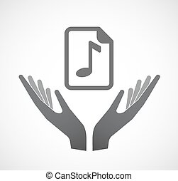 Isolated hands offering a music score icon - Illustration of...