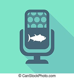 Long shadow microphone with a tuna fish - Illustration of a...