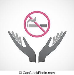 Isolated hands offering  a no smoking sign