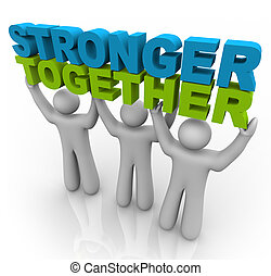 plus fort, ensemble, -, levage, mots