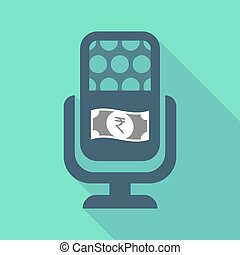 Long shadow microphone with a rupee bank note icon -...