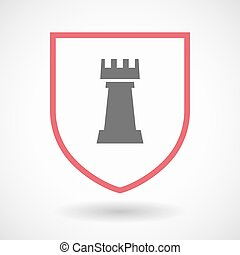 Isolated shield with a rook chess figure - Illustration of...