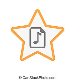 Isolated star with a music score icon - Illustration of an...