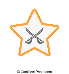 Isolated star with  two swords crossed