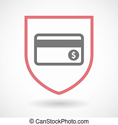 Isolated shield with a credit card - Illustration of an...