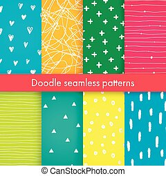Set of bright vector doodle patterns.