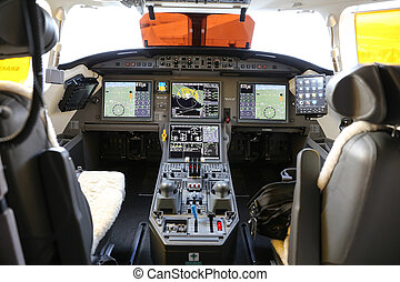 Cockpit of an Airplane - Controls in Cockpit of a Jet...