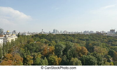 aerial cityscape over park looking down in kyiv Ukraine -...