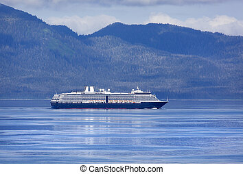Travelling to Juneau - The cruise liner on a way to Juneau,...
