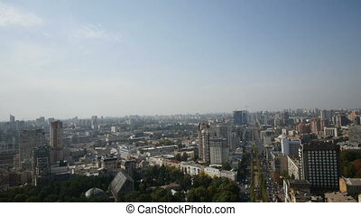 aerial cityscape over buildings a looking in Kyiv Ukraine -...
