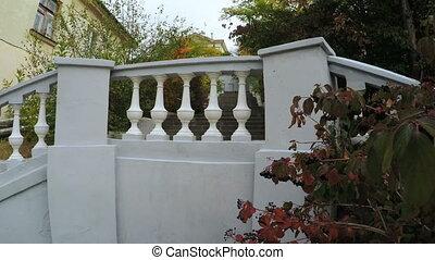 White granite staircase in spa park - RUSSIA, GURZUF,...